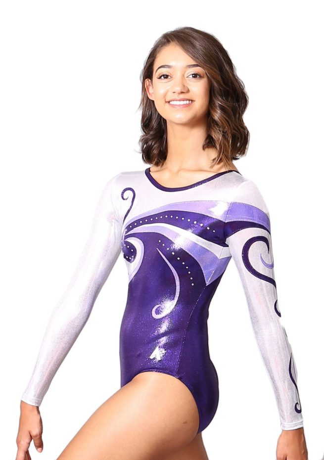 K77S07 S69D long sleeved purple and silver gymnastics leotard for girls