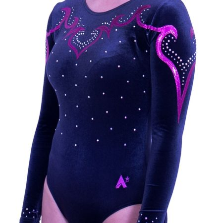 K92CF01 S35D black velour long sleeved fancy leotard with diamante