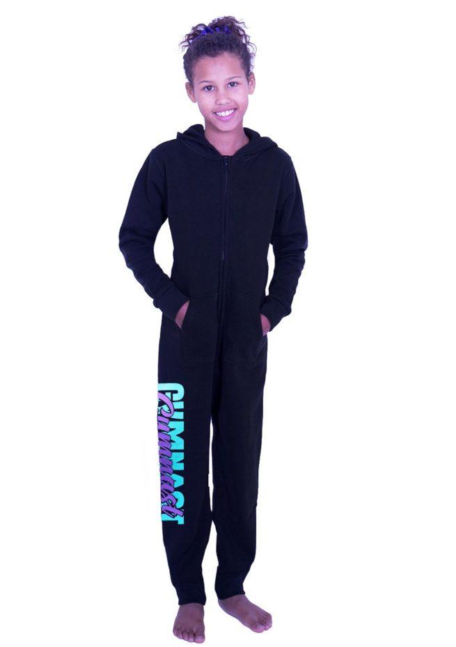 PTO 01 P16 black onesie with gymnast metallic print