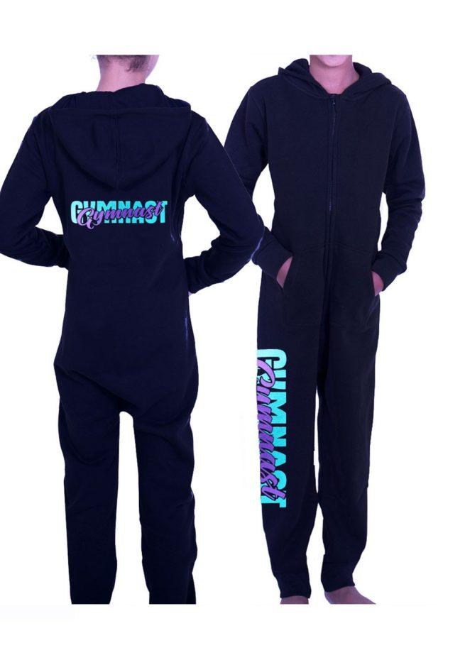 PTO 01 P16 black onesie with purple gymnast print