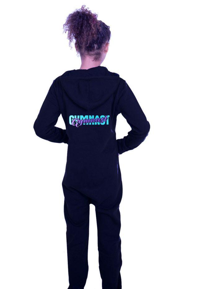 PTO 01 P16 unisex black onesie with gymnast print