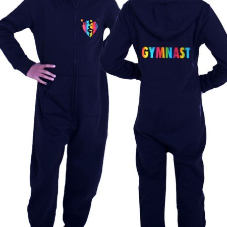 PTO 01 P18 black onesie with colourful gymnast print with hearts