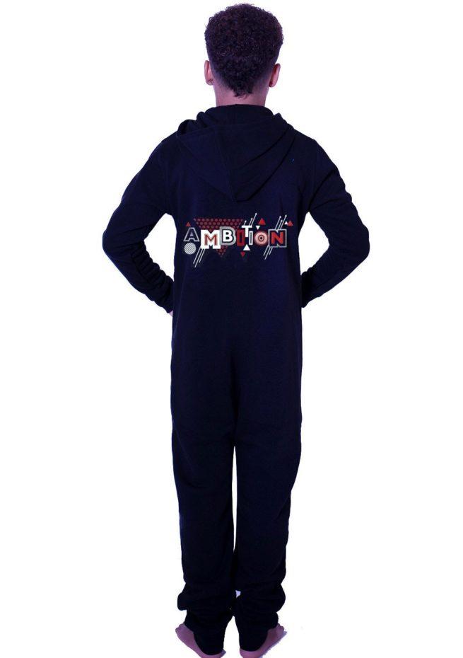 PTO 01 P23SWR black onesie with ambition print