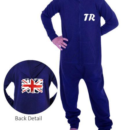 PTO 02 P20 navy unisex onesie personalised grungy union jack flag print