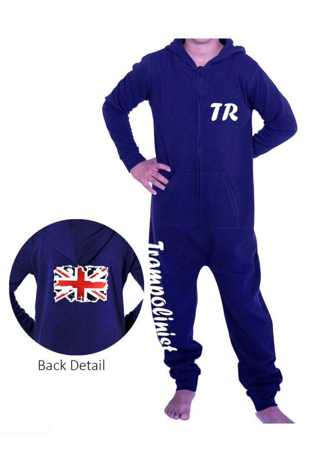 PTO 02 P20 navy unisex onesie personalised grungy union jack flag print trampolining print