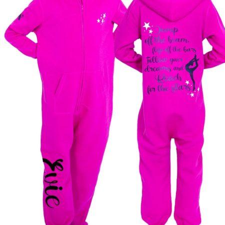 PTO 05 JOTB pink onesie girls motivation printed gymnastics onesie personalised named