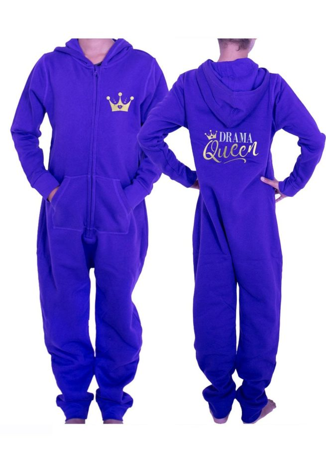PTO 07 P25 drama queen printed personalised gymnastics purple winter onesie for gymnastics