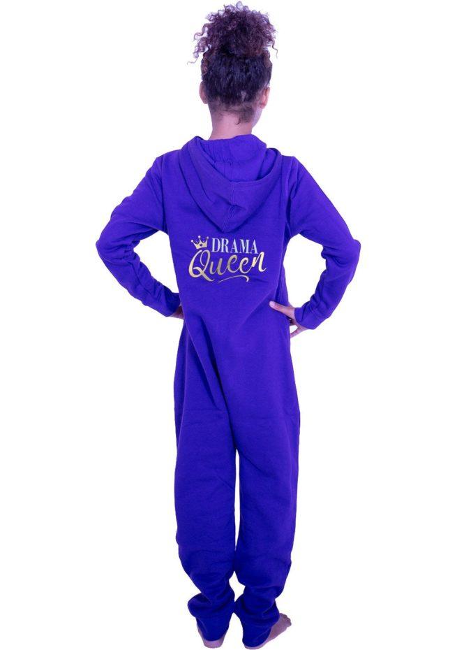 PTO 07 P25 drama queen slogan printed purple hooded onesie