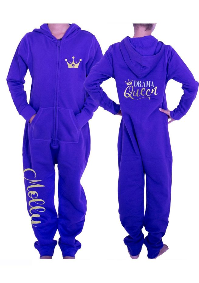 PTO 07 P25 named drama queen printed personalised gymnastics purple winter onesie for gymnastics