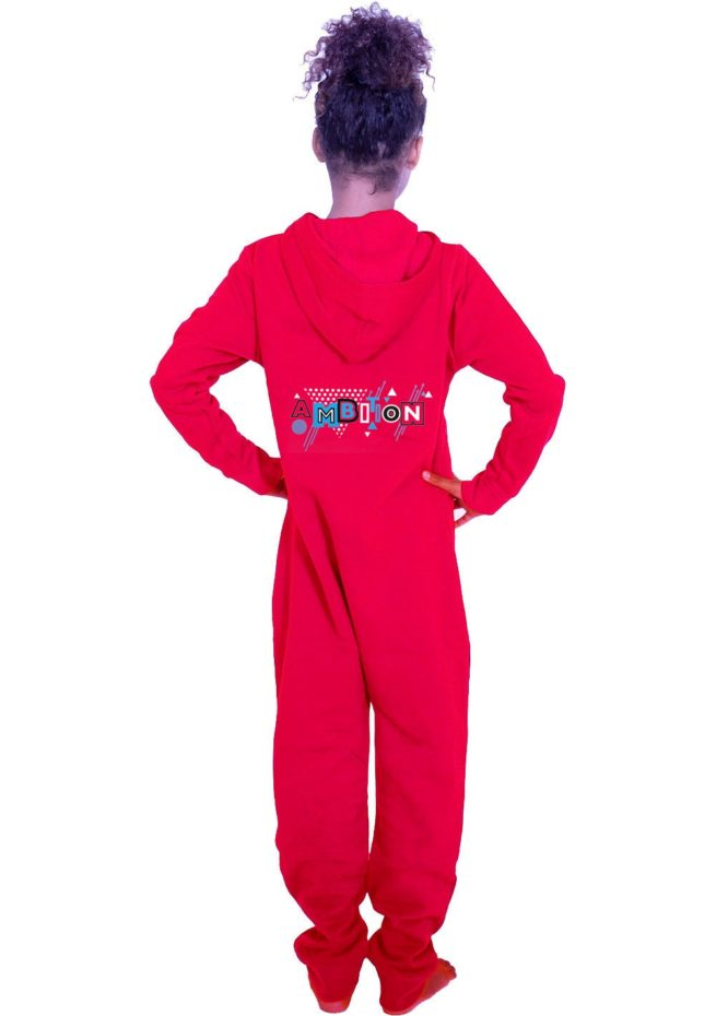 PTO 51 P23BBW red onesie with ambition print