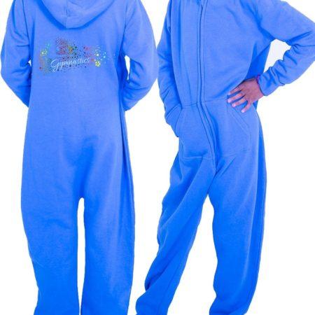 PTO 52 P21 turquoise blue girls onesie with multicoloured gymnastics