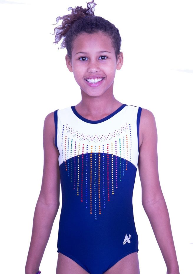 S2J02 J11D navy and white leotard with bright diamante pattern