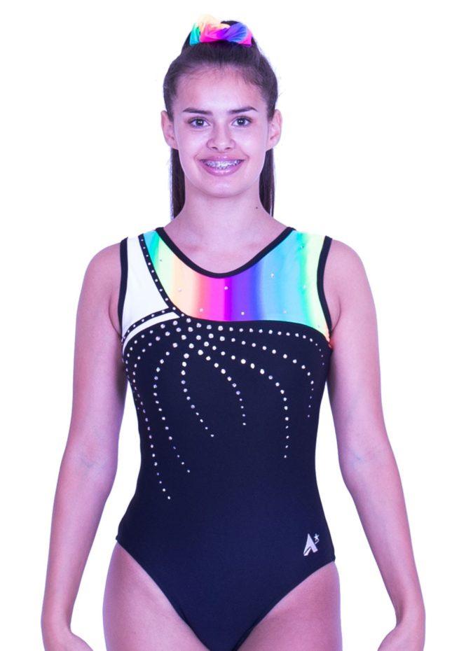 S52N01 L127D lycra gymnastics training leotard black with rainbow pattern and gems