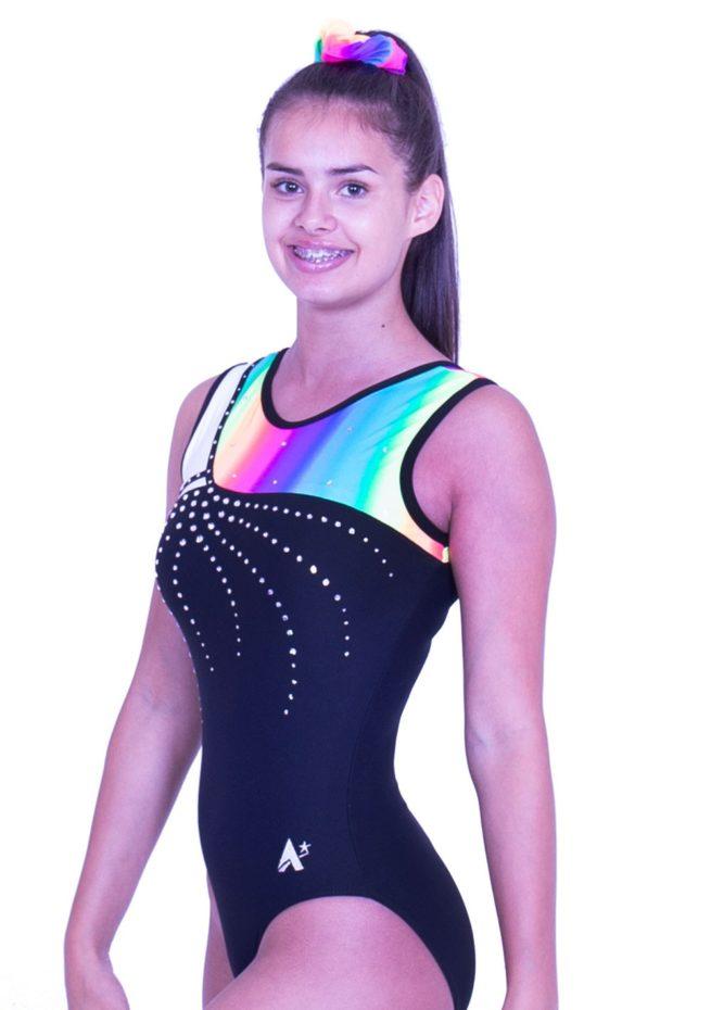 S52N01 L127D lycra gymnastics training leotard with rainbow top and diamante