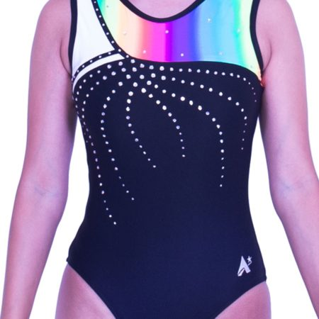 S52N01 L127D rainbow gymnastics leotard lycra training comfortable leo girls