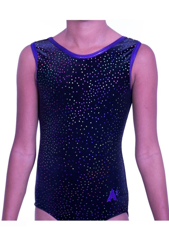 SP H15 soft velour cheap training leotard purple and black gymnastics dance