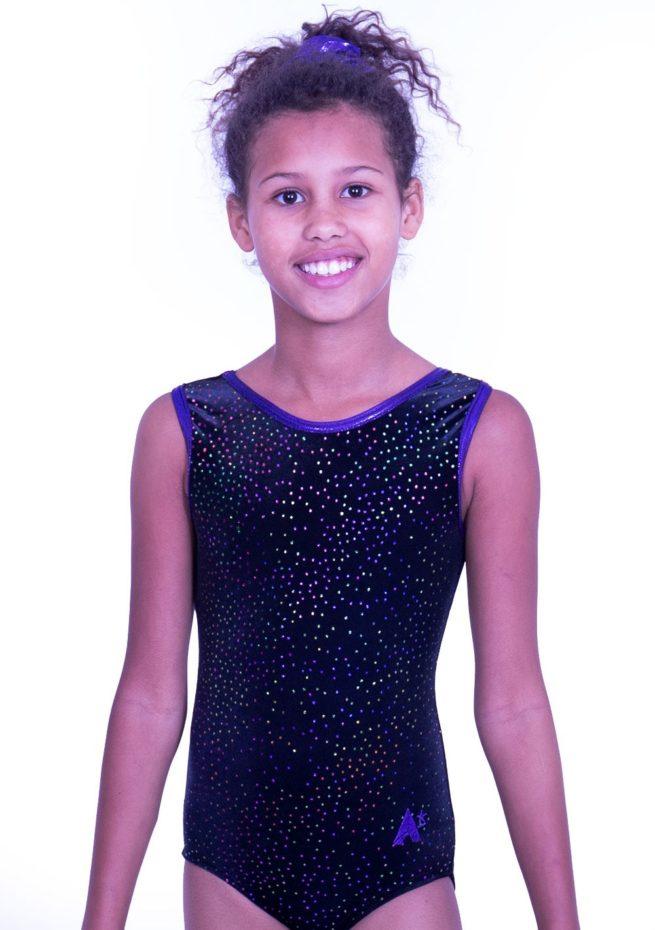 SP H15 velvet cheap training leotard purple and black gymnastics dance