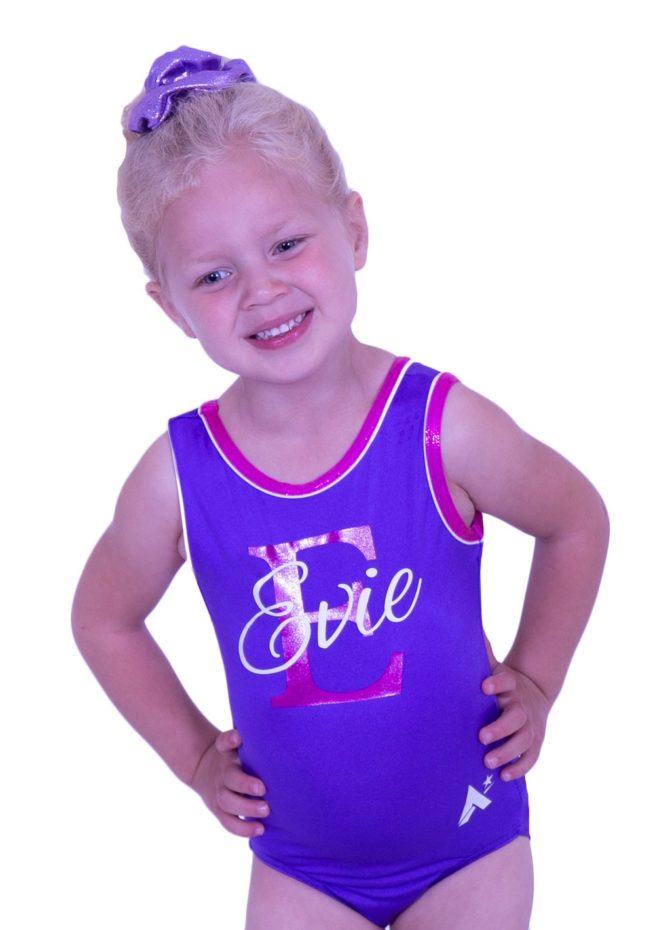 SPBJ07 PNN purple lycra girls gym leotard personalised with printed name
