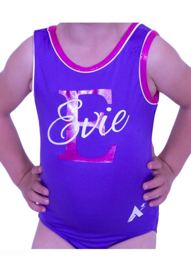 SPBJ07 PNN purple lycra soft training leotard with name print personalised custom leotards cheap