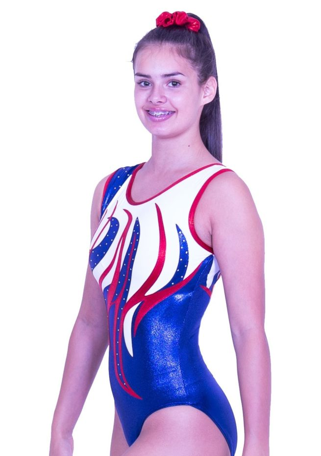 Z170S02 J11D customised girls leotard red white and blue with gems