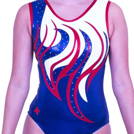 Z170S02 J11D sleeveless red white and navy girls gymnastics trampoline leo with diamante