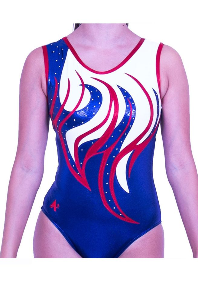 Z170S02 J11D sleeveless red white and navy girls gymnastics trampoline leo with diamante