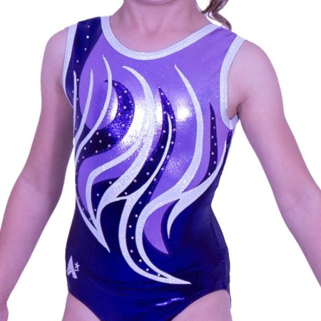 Z170S07 S27D girls sleeveless gymnastics leotard in purple shimmer with diamante