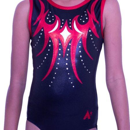 Z262S01 S51D competition black and red shimmer gymnastics leotard