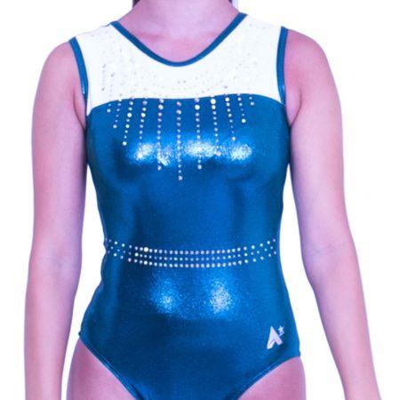 Z407S44 J11D sleeveless training gymnastics dance leotard petrol shimmer with white lycra