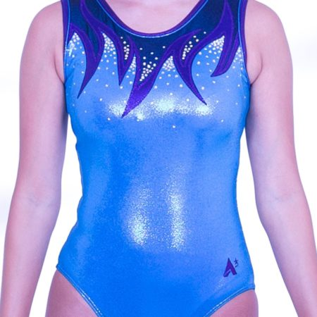 Z416S52 S07D blue and purple gym leotard with sparkle