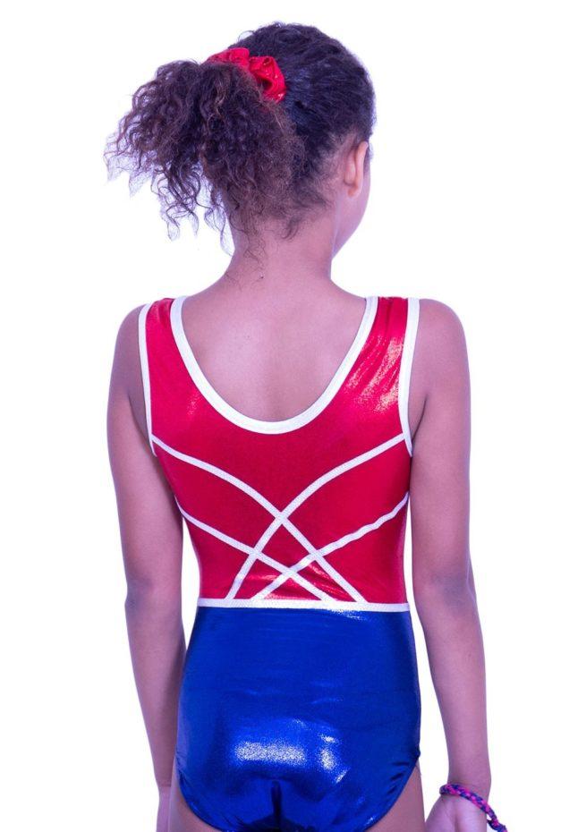 Z516S02 S51D girls sleeveless gymnastics leotarad red and navy