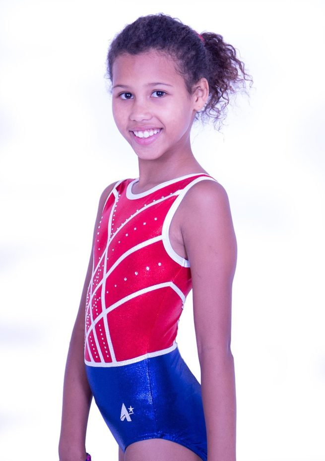 Z516S02 S51D red white and blue gymnastics leotard with gems