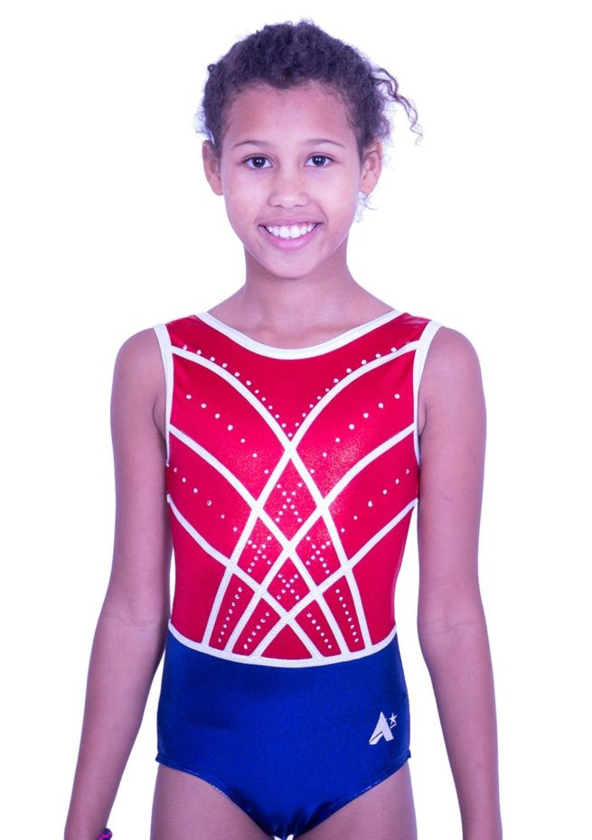 Z516S02 S51D sleeveless navy red and white leotard with diamante