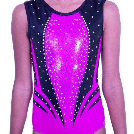 Z551S05 S01D pink sleeveless gymnastics shimmer leotard with gems