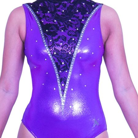 Z552S28 K01 high neck lilac sleeveless purple leotard