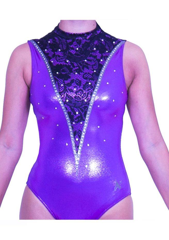 Z552S28 K01 high neck lilac sleeveless purple leotard