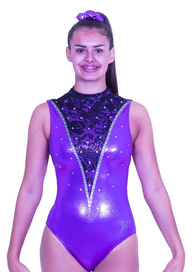 Z552S28 K01 high neck sleeveless purple leotard