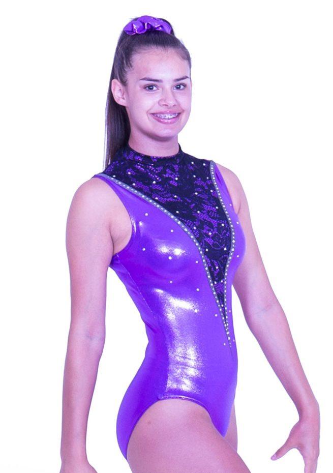 Z552S28 K01 purple high neck leotard sleeveless