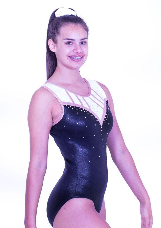 Z553S01 S54D black white rosw gold gym sleeveless leotard
