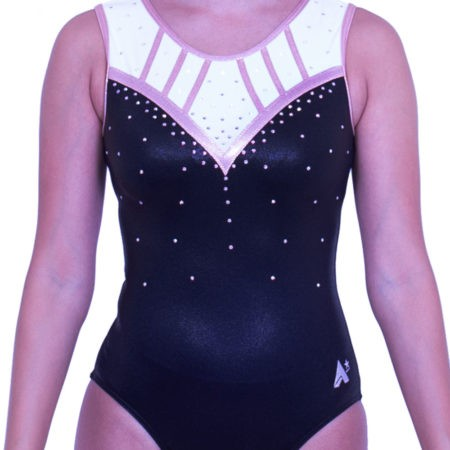 Z553S01 S54D rose gold black sleeveless girls gym leotard with diamante