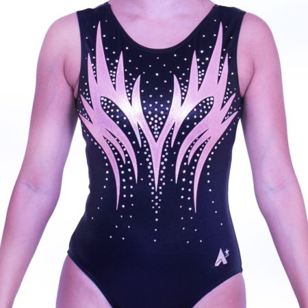 Z563S35 S57D gymnastics leotard black and rose gold with diamante