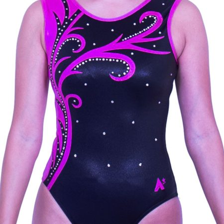 Z570S01 S05D black and pink shimmer sleevless gymnastics leo with diamante