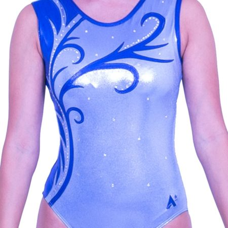 Z570S23 S02D blue girls competition sleeveless gymnastics leotard with diamante
