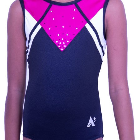 Z583J01 J25 sleeveless pink and black leotard with diamante