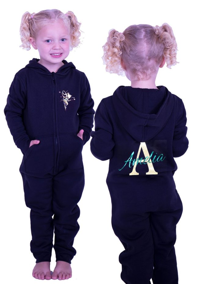 black girls onesie with fairy and pprinted name