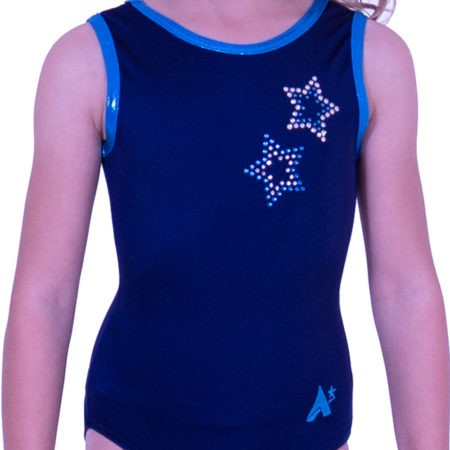 cheap gymnastics leotard with star design navy