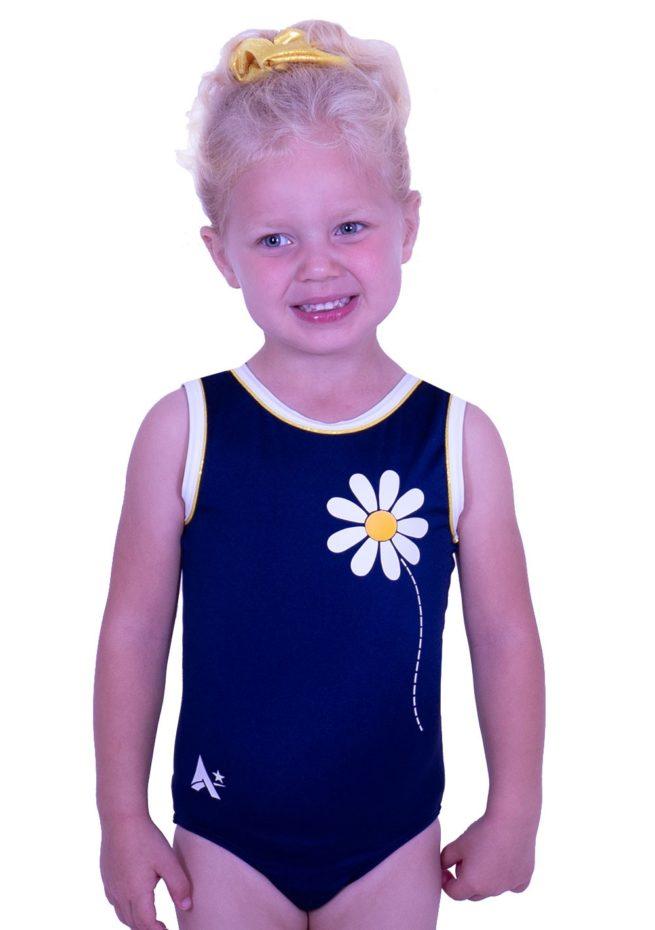 cute girls navy leotard flower daisy design leo gymnastics