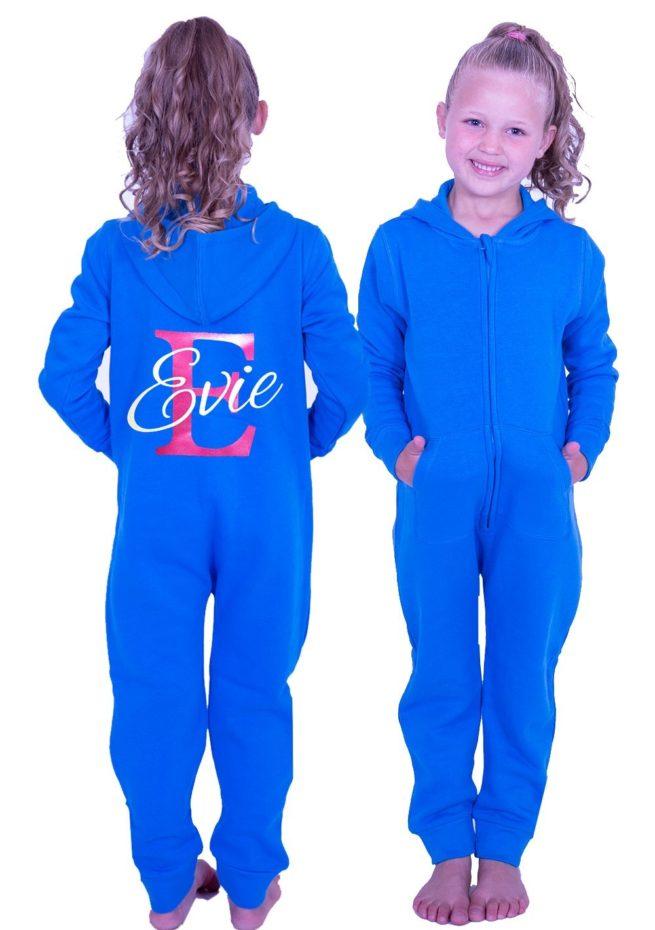 girls blue onesie personalised named printed