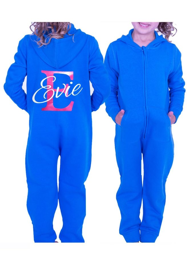 girls printed named personalised onesie turquoise blue