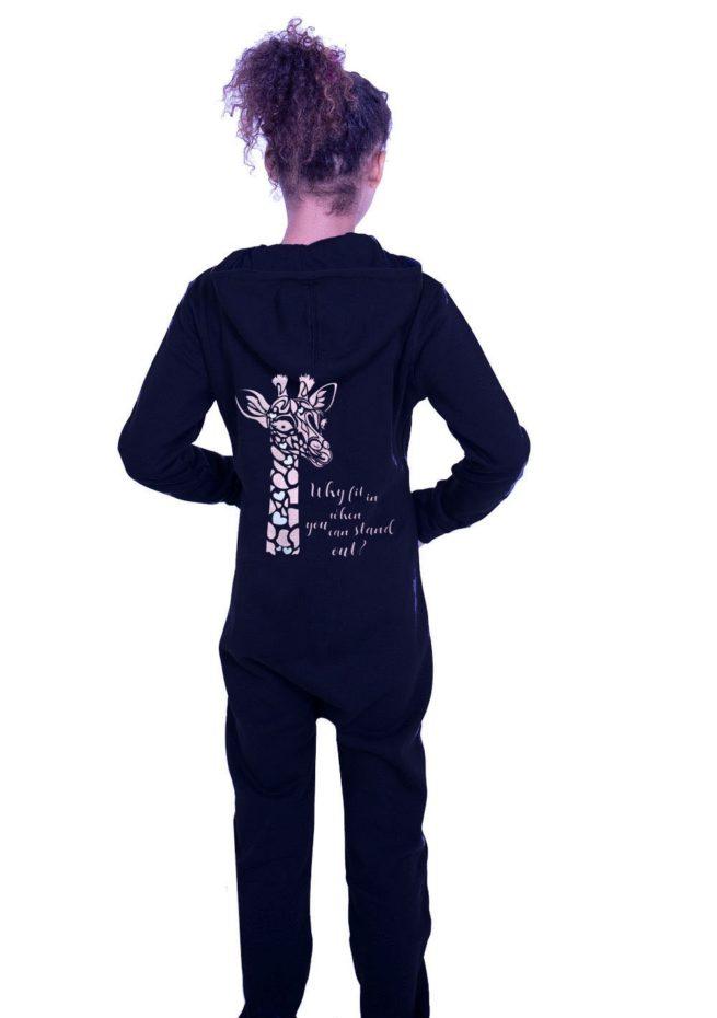 girsl black all in one with rose gold giraffe print